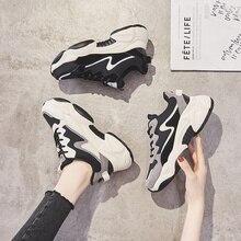 2020 インホット販売春ファッション女性カジュアルシューズ革の厚底靴女性スニーカーレディースホワイトトレーナー Chaussure ファム