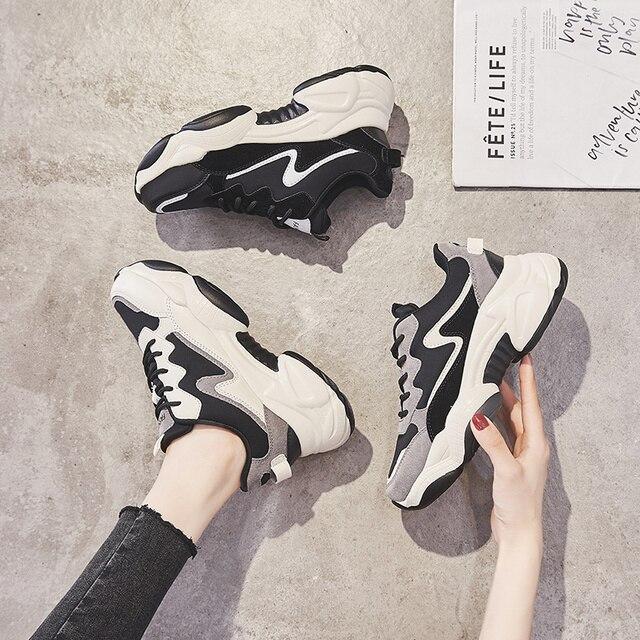 2020 תוספות מכירה לוהטת אביב אופנה נשים נעליים יומיומיות עור פלטפורמת נעלי נשים סניקרס גבירותיי לבן מאמני Chaussure Femme