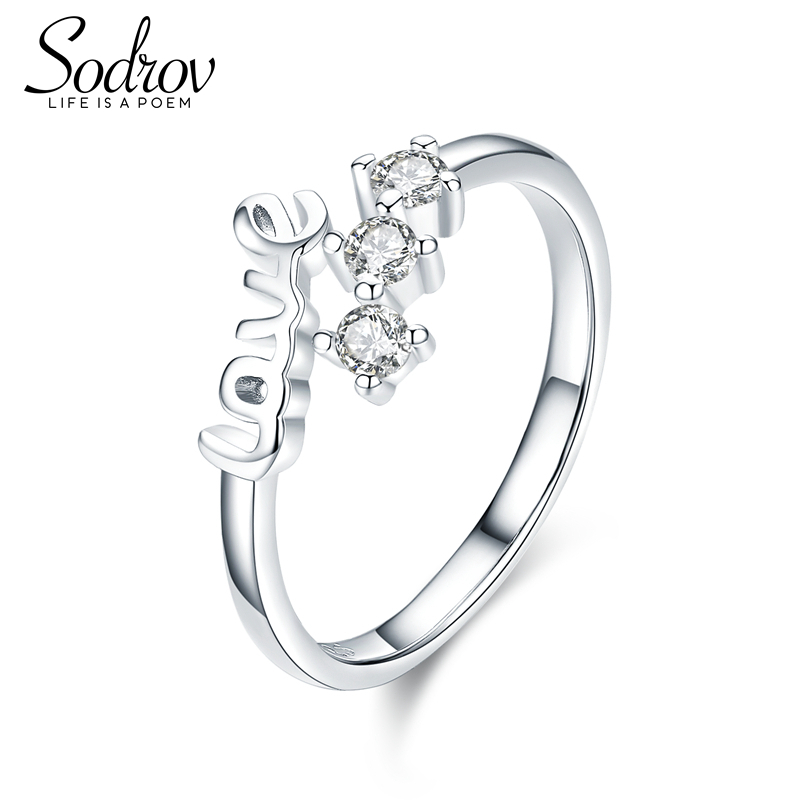 Sodrov Love Engagement Jewelry Rings Silver 925 Sterling Cute Simple For Women Zircon Wedding Bands