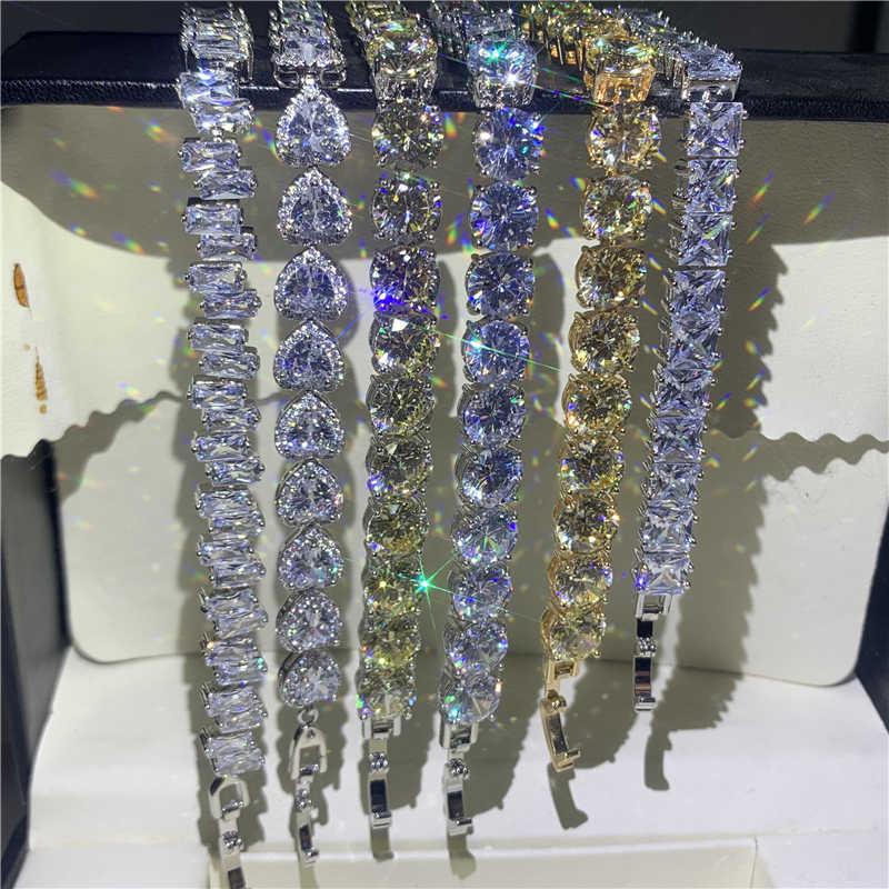 Handgemaakte Beloven Sieraden 925 Sterling Zilver Luxe Bangle Wit Aaaaa Cubic Zirkoon Vrouwen Wedding Band Armband Voor Gift Lovers'