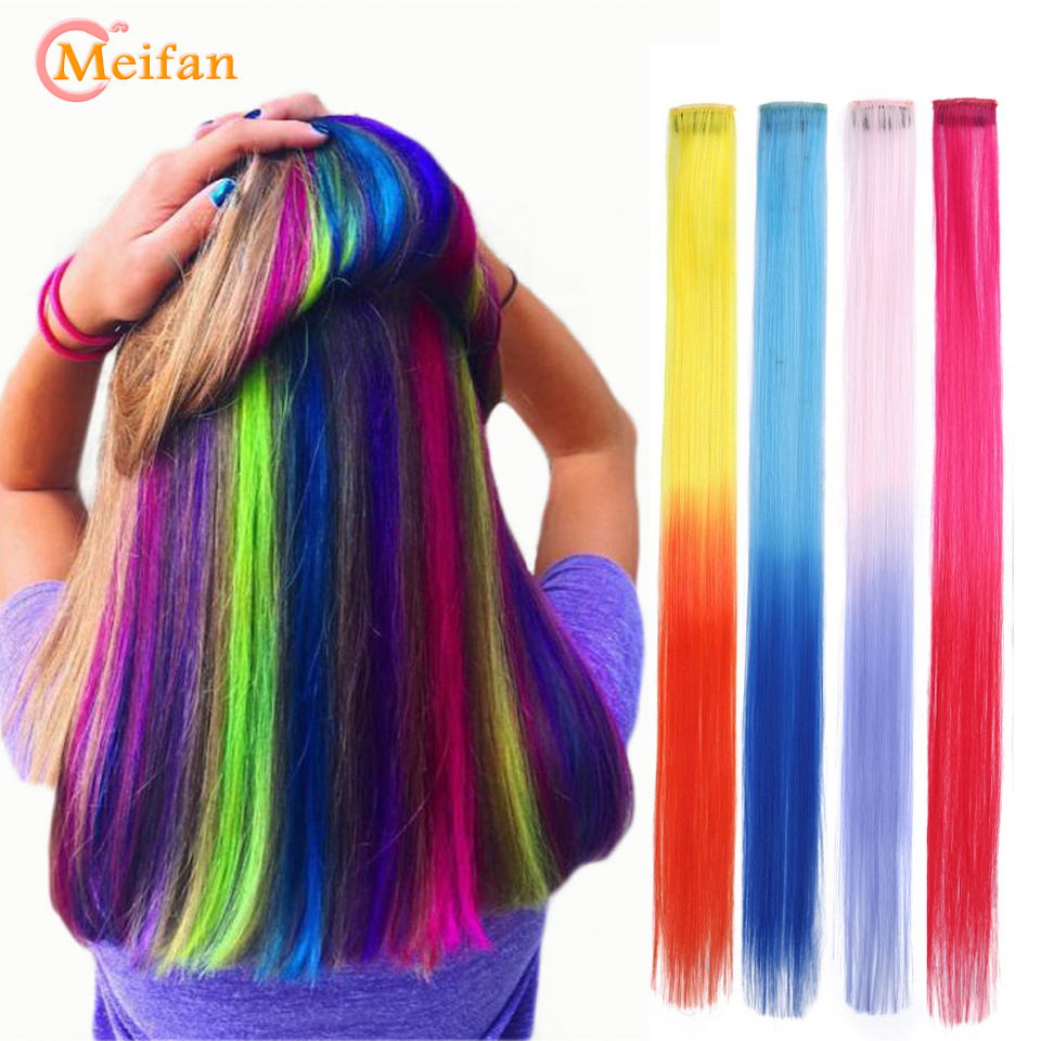 MEIFNA Long Straight Synthetic Color Hair Pieces Extension Clip In Highlight Rainbow Streak Ombre Pink Hair Strands On Barrette
