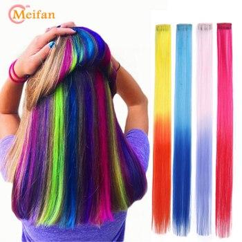 Meifna longa reta cor sintética cabelo peças extensão clipe em destaque arco-íris raia ombre fios de cabelo rosa no barrette