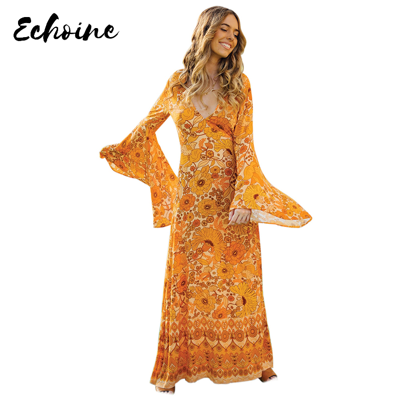 Echoine Sexy <font><b>Yellow</b></font> Majesty Bohemia <font><b>Sunflower</b></font> Flower Long Women <font><b>Dress</b></font> V Neck Flared Sleeve Push Up Vintage <font><b>Dress</b></font> Vestidos Mujer image