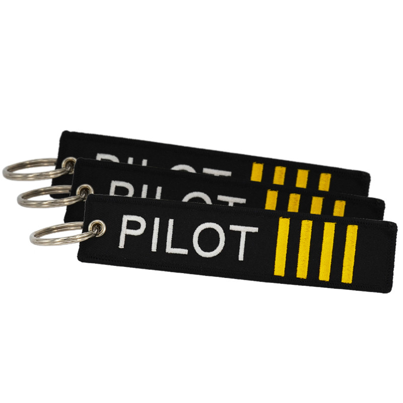 5 PCS/LOT Remove Before Flight Pilot Key Chain Jewelry Safety Tag Embroidery Pilot Key Ring Chain For Aviation Gifts Luggage Tag
