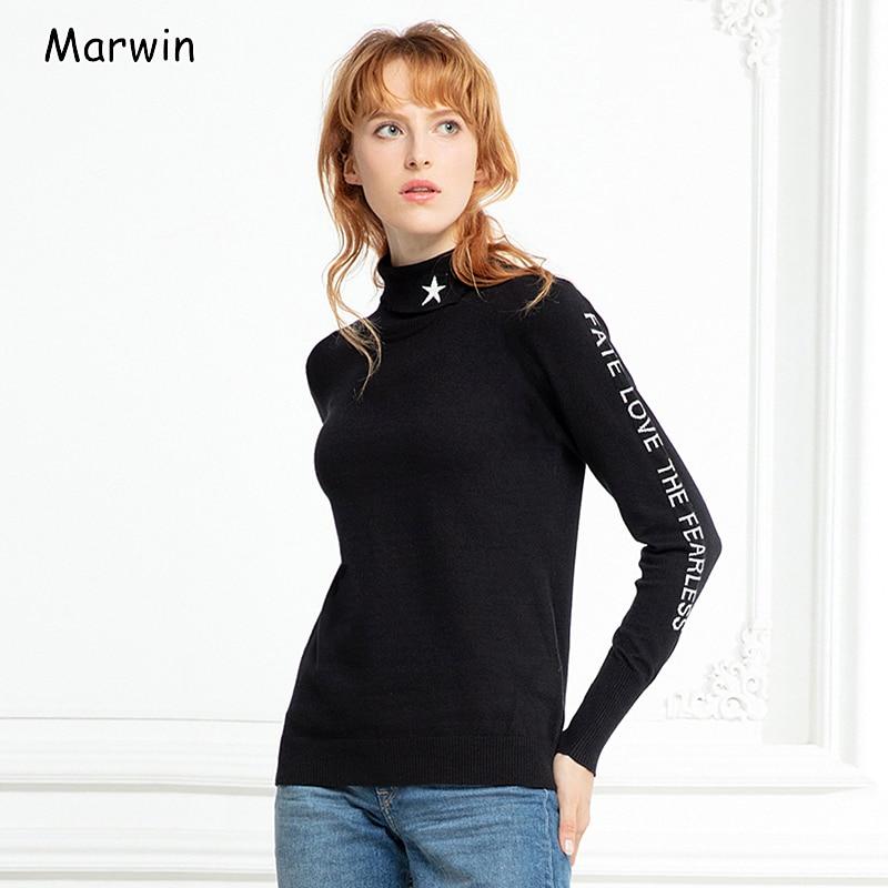 Marwin 2019 Новое поступление осень зима отложной воротник письмо женские пуловеры высокий уличный стиль червь мягкие женские свитера