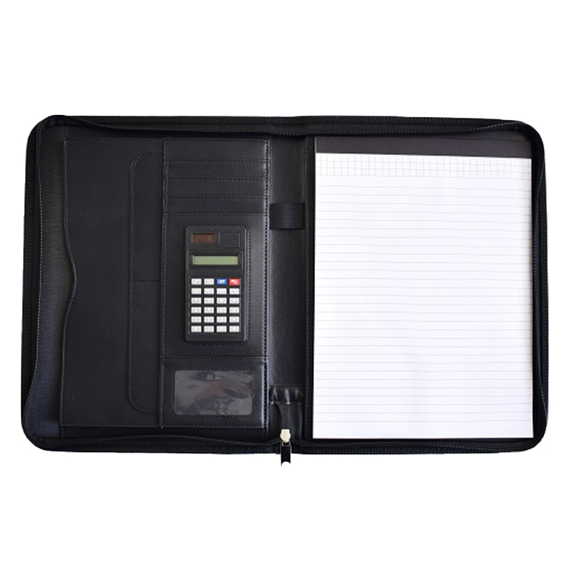 A4 Multi-Function Business Zipper Manager With Calculator Spot PU Folder Data Contract Package