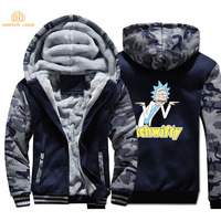 Rick And Morty Schwifty Printed Funny Camouflage Hoodies Men 2020 Autumn Winter Warm Fleece Sweatshirts Black Navy Gray Hoodie