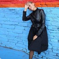 Вечерние платья из искусственной кожи с поясом, зимнее платье с длинным рукавом и стоячим воротником, новая мода 2019, черное однотонное винта...