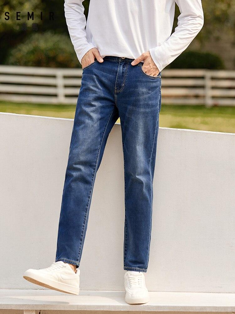 SEMIR Jeans men slim feet men autumn new denim trousers thin boys trend ninth points demin pants for man