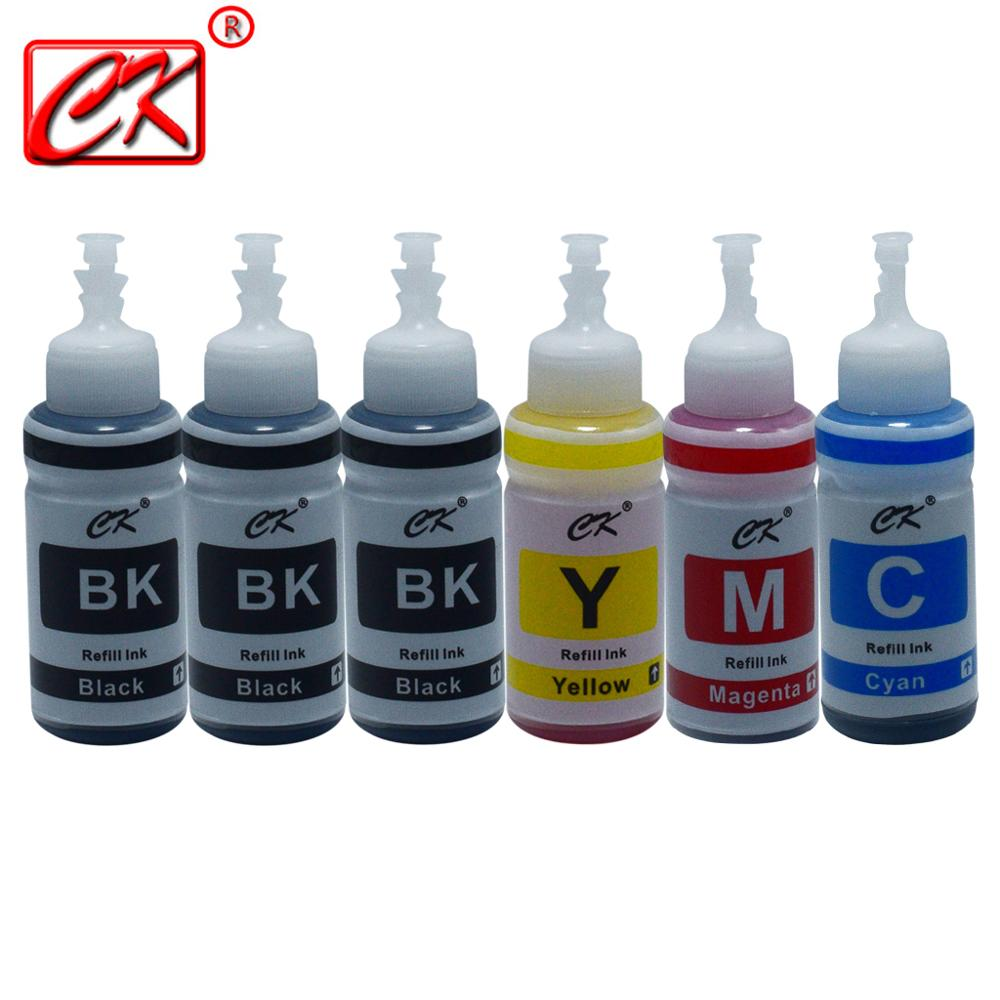 Printer ink 4 Color+2BK Dye Based Refill Ink Kit for Epson L100 L110 L120 L132 L210 L222 L300 L312 L355 L350 L362 L366 L550 L555