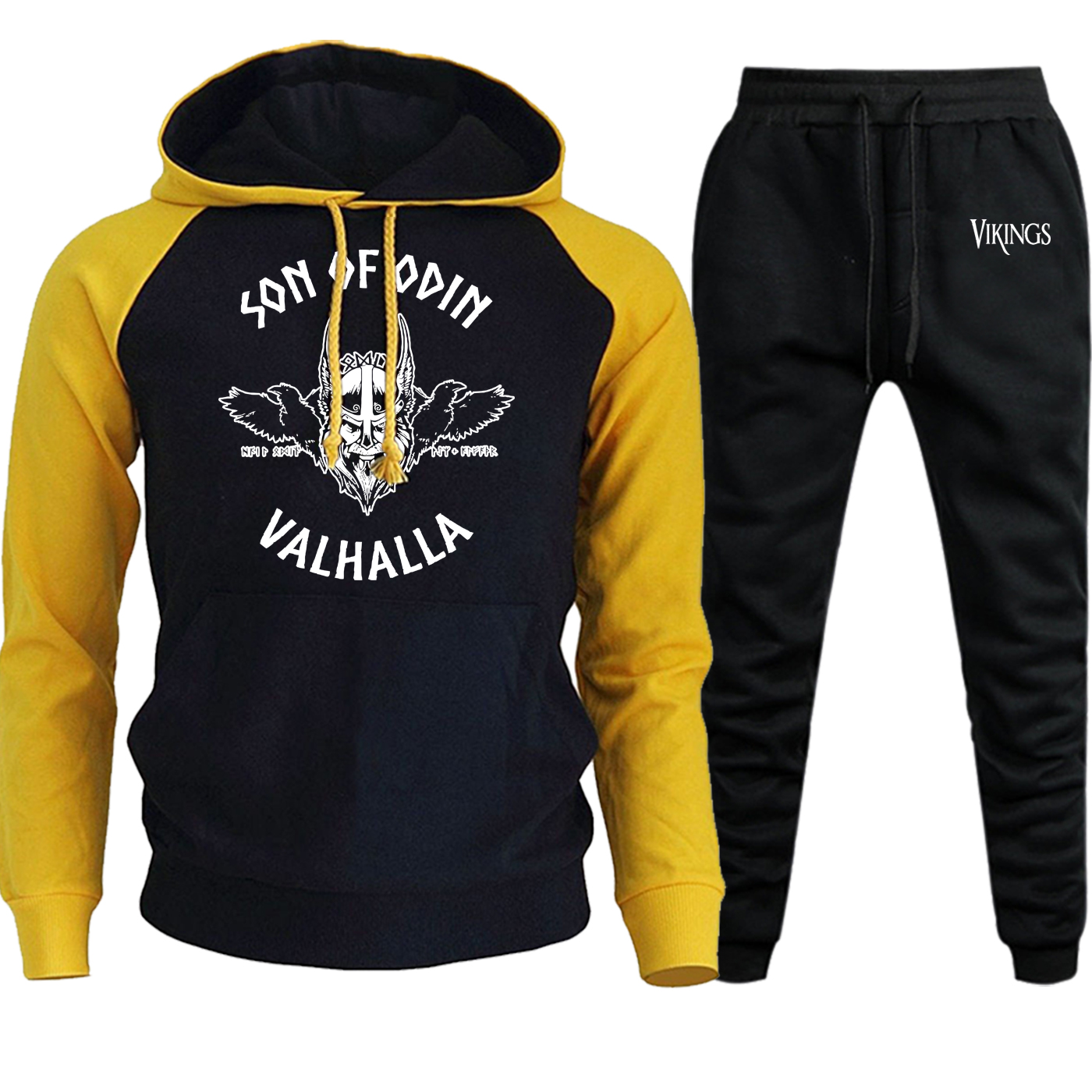Son Of Odin Valhalla Sweatshirt Men Raglan Vikings Hoodies 2019 Autumn Winter Suit Fleece Pullover Funny Hoody+Pants 2 Piece Set