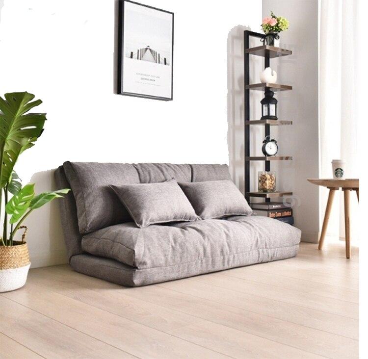 Pliable paresseux petit canapé-lit feuille Double usage petit appartement chambre multi-fonctionnel japonais Tatatami Net Style rouge