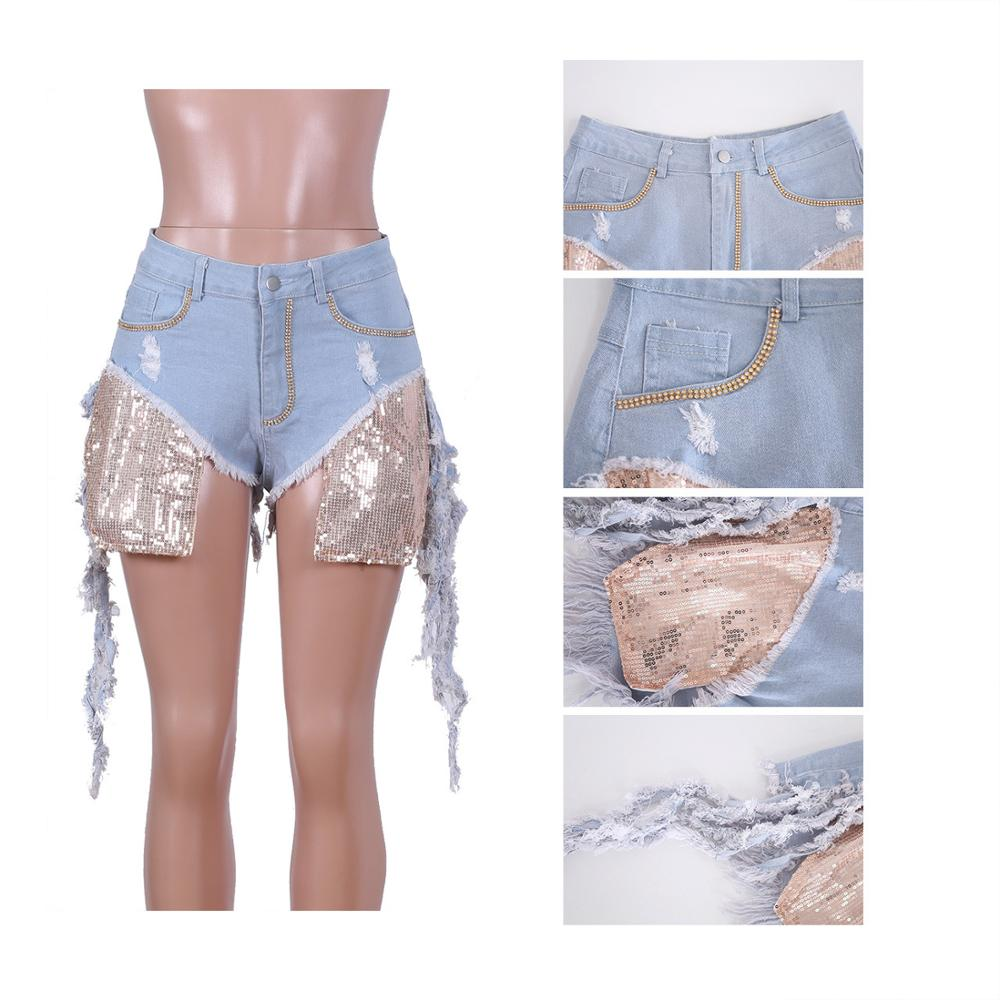 Adogirl Sequins Pockets Diamonds Jeans Shorts Size Holes Tassel Washed Denim Shorts Women Fashion Sexy Trousers Club Pants Jeans Women Bottom ! Plus Size Women's Clothing & Accessories