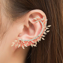 Fashion leaf clip on earrings for women elegant vintage punk gothic crystal rhinestone ear cuff wrap clip earring jewelry 1PC(China)