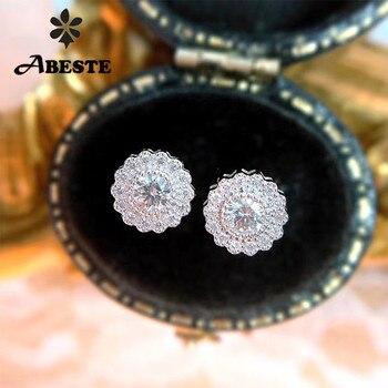 Женские серьги-гвоздики ANI из белого золота 18 К (AU750), сертифицированные серьги с натуральным бриллиантом, дизайн Halo для женщин