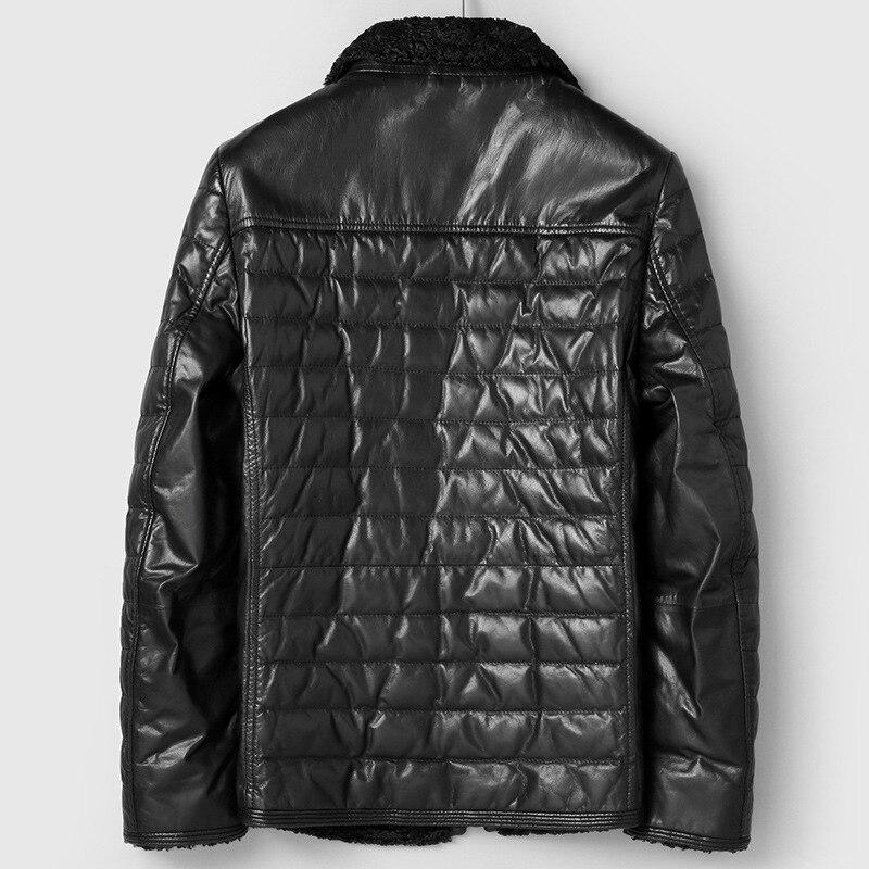 2020 New Genuine Leather Jacket Men Autumn Winter Goatskin Down Jacket Casual Coat Veste Cuir Homme 81C96122 KJ2446