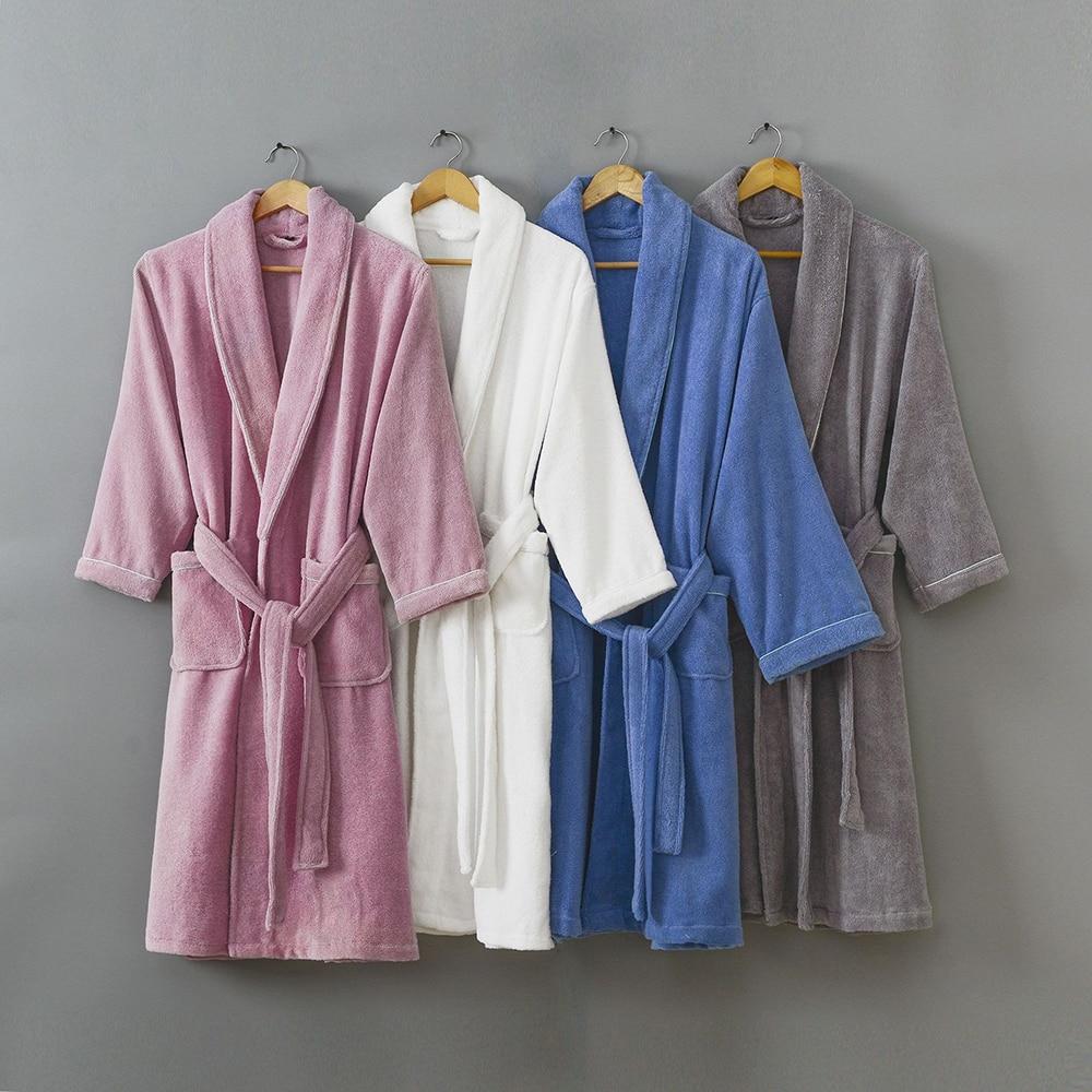 2021 100% Cotton Bathrobe Soft Ventilation Sleeprobe Casual Warm Homewear Winter Thick Robe Men Women Toweling Terry Hooded Robe