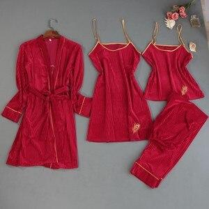 Image 4 - 2019 herbst Winter 4 Stück Frauen Pyjamas Sets Samt Nachtwäsche Nachtwäsche Stickerei Pyjama Spaghetti Strap Schlaf Lounge Pijama