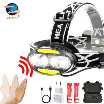 ZHIYU Super bright LED headlamp 4 x T6 + 2 x COB + 2 x Red LED waterproof led headlight 7 lighting modes with batteries charger sipids s10 1 led white 2 led red 2 mode headlamp black fluorescent green 3 x aaa