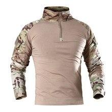 Camisa tática masculina uniforme militar camuflagem treinamento de secagem rápida superior selva campo arma paintball forças especiais roupas
