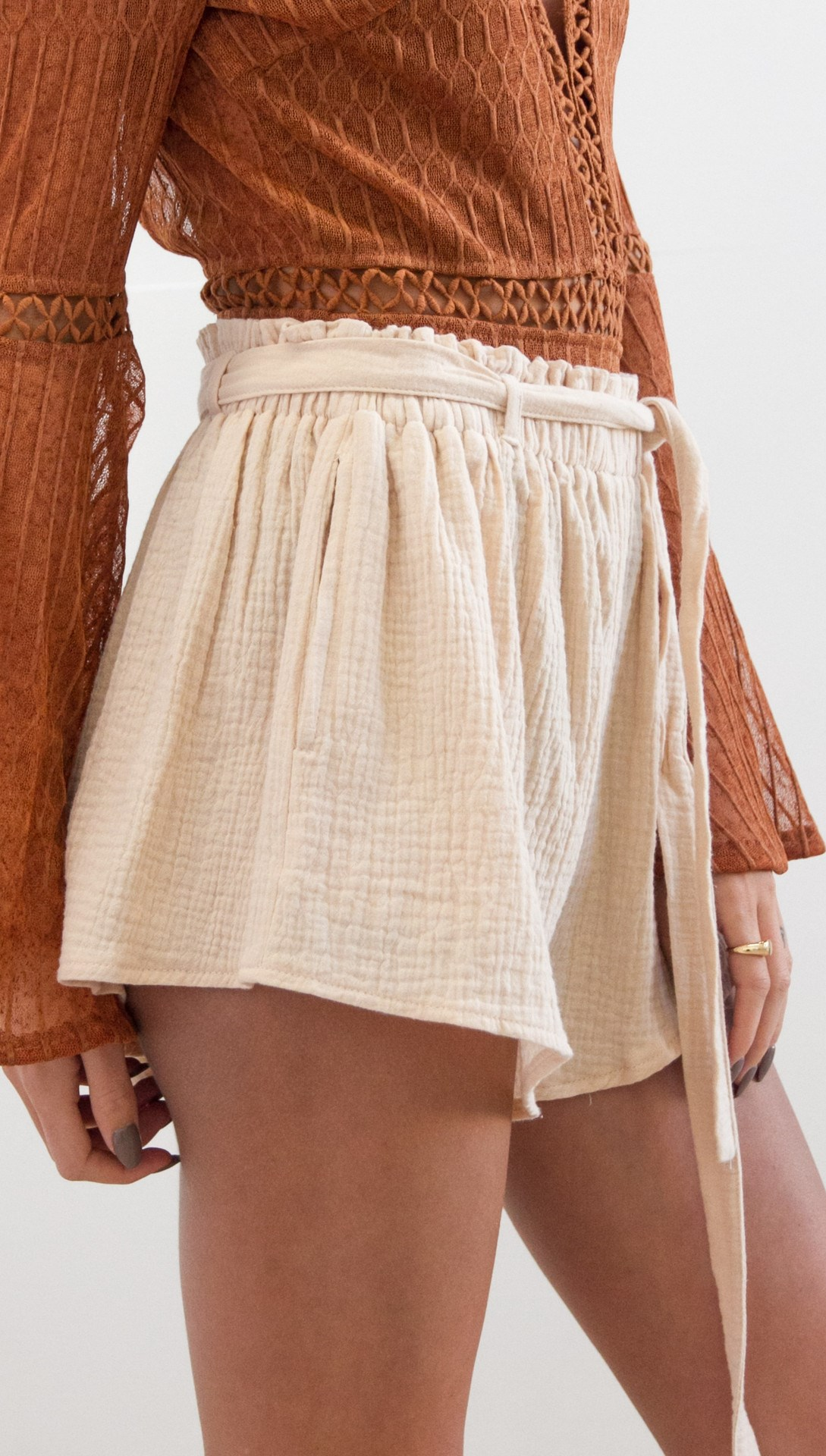 Pop Tide Nice Fashion Women Lace Up Casual Shorts Belt Solid Loose Shorts Sashes Elastic High Waist Summer Shorts - 3