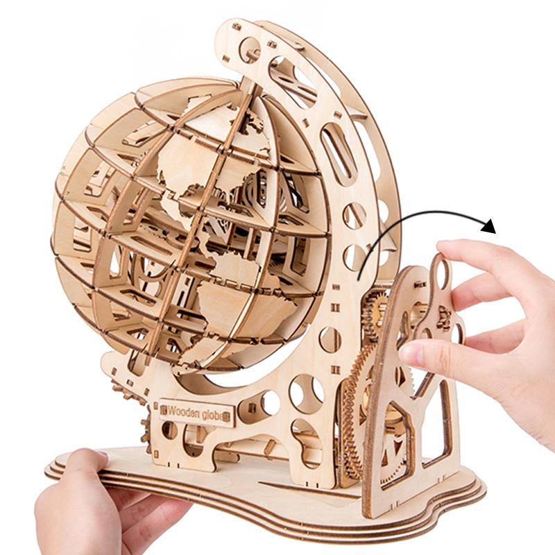 2019 new wooden globe DIY assembled creative 3D toy wooden mechanical transmission model assembled educational toys(China)
