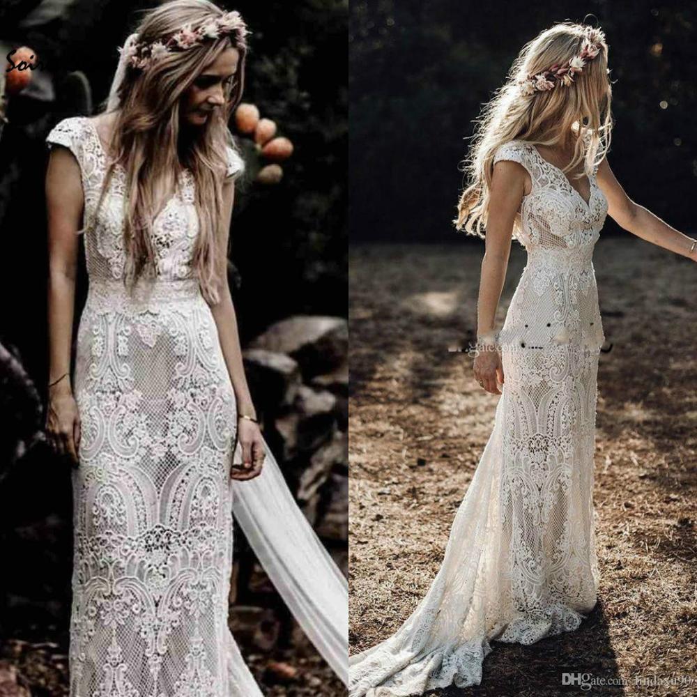 Vintage Bohemian Wedding Dresses Hippie Crochet Lace Boho Country Wedding Dress Mermaid V Neck Turkish Vestidos Para Boda 2019