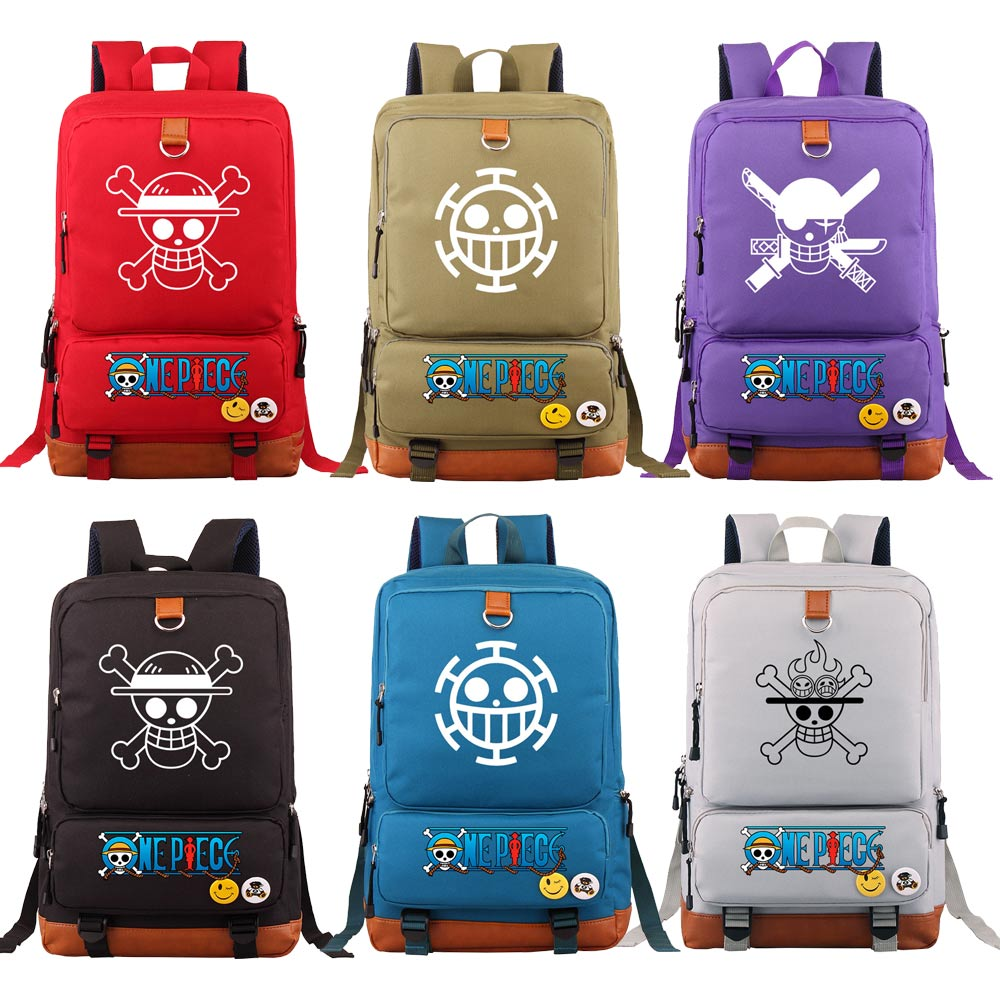 Fashion  Anmie Cartoon One Piece Boy Girl Book School Bag Women Bagpack Teenagers Schoolbags Men Student Backpack