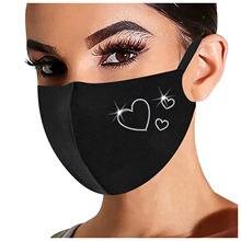 Máscara adulta moda reusável flash strass máscara respirável ao ar livre proteção anti poeira boca máscara de natal # rn