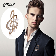 QIDIAN 2019 Europe America Best Seller Fashion Lovely Rhineston Musical Note Brooch Jewelry Male Female Clothing Accessories Pin