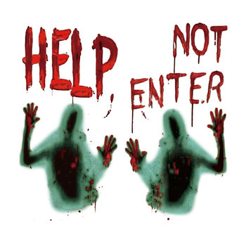 Haunted House Giant Bloody Eerie Wall Door Car Window Poster Halloween Party Suppliers Do Not Enter halloween Decoration image