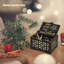 My Sunshine Engraved Hand Crank Antique Carved Wooden Music