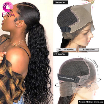 Eva 13x6 Fake Scalp 370 Lace Front Human Hair Wigs Curly Pre Plucked With Baby Hair 150% Brazilian Remy Hair Wig For Black Women