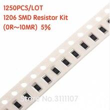 1250PCS/LOT  1206 SMD Resistor Kit (0R~10MR) 5% Chip Resistance Assorted Set 100%NEW 50 Kinds Each 25PCS