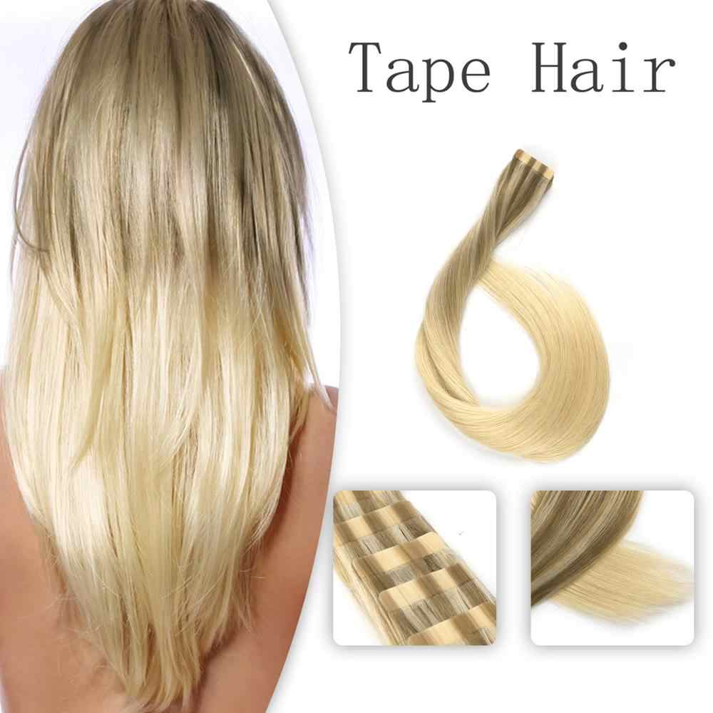 Vlasy 20'' Double Drawn Skin Weft Hair Extensions Brown Mix Blonde Remy Glue on Hair Extensions Milkshake Balayage Color 2.5g/pc