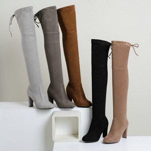 Image 3 - NEMAONE النساء تمتد فو الجلد المدبوغ الفخذ أحذية عالية مثير موضة فوق الركبة أحذية عالية الكعب أحذية امرأة أسود رمادي winated