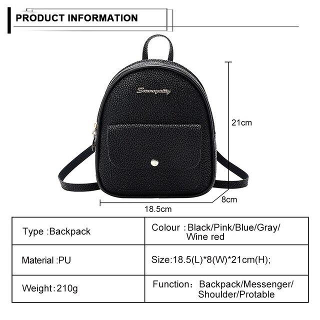 حقيبة ظهر صغيرة حقيبة الكتف للسيدات من جلد بلوتونيوم للفتيات في سن المراهقة الاطفال موضة جديدة صغيرة على ظهره حقيبة المدرسة السيدات الإناث 2