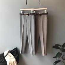 Mooirue Fall 2019 Women Houndstooth Pantalon Female Office Streetwear High Waist Trousers Wide Leg Bottom