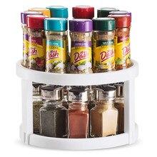 360 Degree Rotating Non-Skid Spice Rack Cabinet Turntable Kitchen Storage Organizer Tray