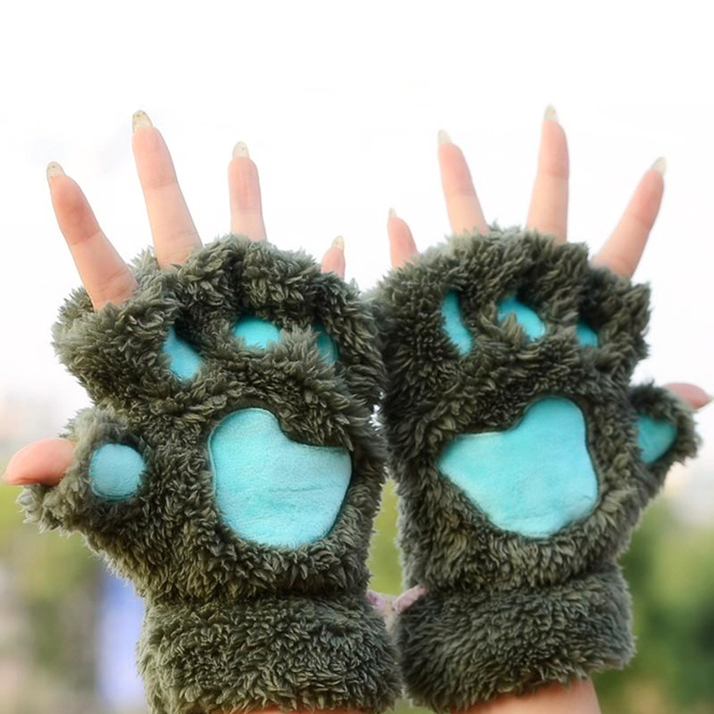New Arrival 2019 Winter Women Cute Cat Claw Paw Mittens Warm Soft Plush Short Fingerless Fluffy Half Finger Gloves Costume