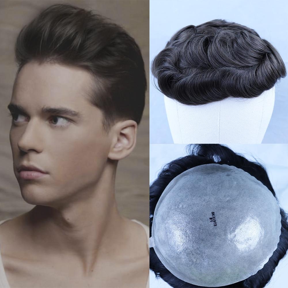 YY Wigs Brown Human Hair Mens Toupee 8x10 7x9 Brazilian Remy Hair Replacement System Wigs For Men Human Hair Toupee Skin PU