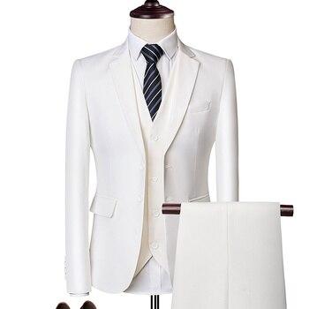 (Blazer + calça + colete) Clássico dos homens de negócios formal terno fino azul royal noivo do casamento desgaste masculino terno preto cavalheiros traje M-6XL 1