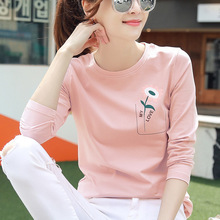 New Long Sleeve Vogue T Shirt Women Korean Style GraphicTees 2019 Autumn Cotton Pink Yellow Red White Black Loose
