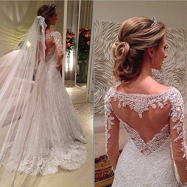 Vestidos De Noiva 2016 Vintage Scoop Neck Applique Sheer Back Long Sleeves A Line Lace Wedding Dresses Bridal Gowns BO6022