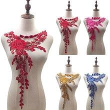 Yeni kırmızı çiçek işlemeli dantel kumaş DIY suda çözünür çiçek renkli yaka dantel Trim giyim dikiş aplike malzemeleri