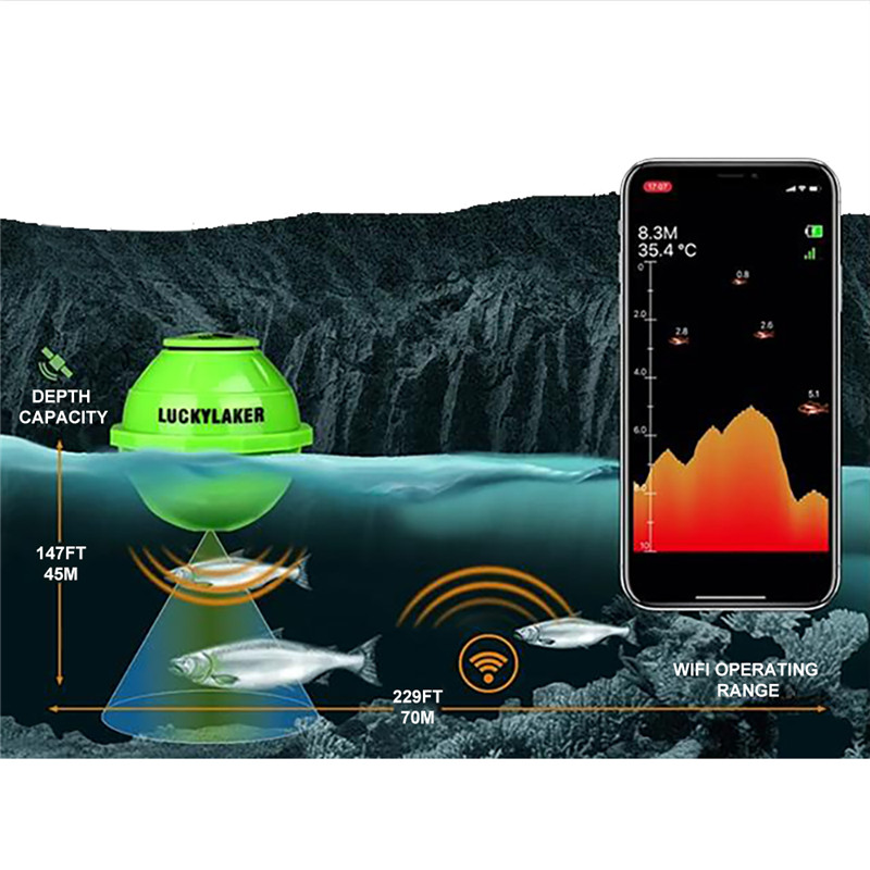 Lucky FF916 Sonar Wireless WIFI Fish Finder 70M Echo Sounder Detect Finder fishing for Lake Sea Fishing IOS& Android