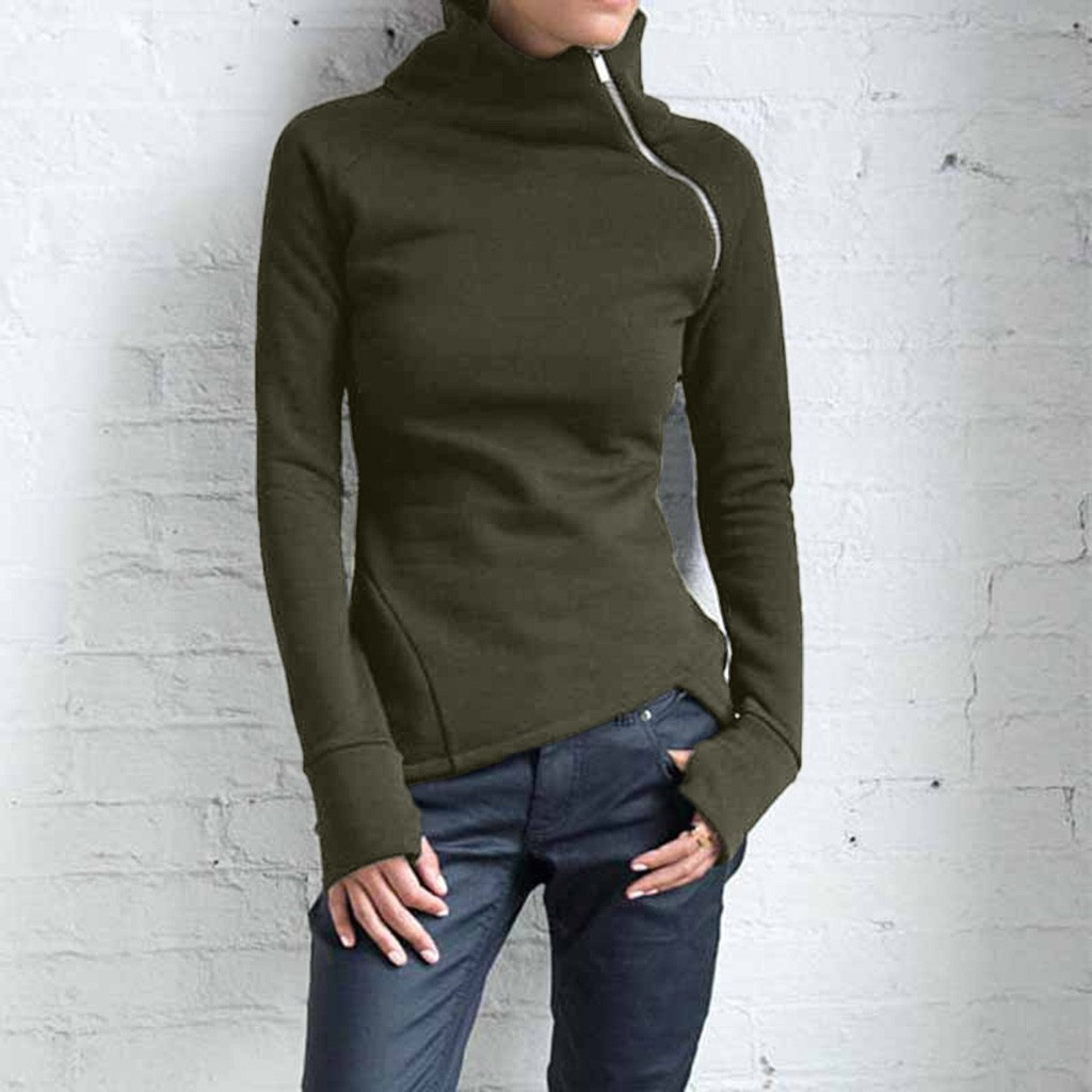 Turtleneck Zipper Sweatshirt Women Pullover Casual Solid Long Sleeve Silm Fit oversized sweatshirt women sudaderas para mujer