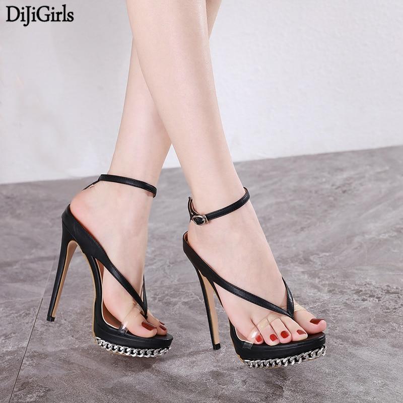 Big Size 34-42 Femme Sexy Thong Shoes Woman Heels Ladies Chain Platform High Heel Sandals 2020 Sandals Women Party Shoes Femmes
