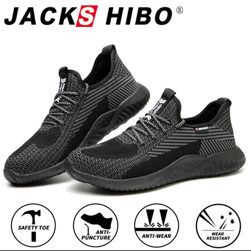 JACKSHIBO Autumn Safety Work Shoes For Men Male Anti-Smashing Steel Toe Cap Boots Construction Shoes Safety Boots Work Sneakers