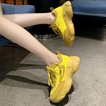 цена Brand Yellow Sneakers Woman Shoes Sneakers 2019 New Chunky Sneakers dames Fashion White Sneakers Women Baskets femme Sneakers онлайн в 2017 году